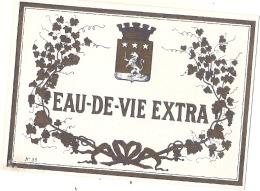 étiquette  - Eau De Vie Extra - Modele Imprimeur N55 Explications étiquette Au Dos - (4 Petits Clairs) - LION - Whisky