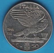 ITALIA 50 Centesimi 1941 KM# 76b Victor-Emmanuel III Magnétique - 1861-1946 : Kingdom