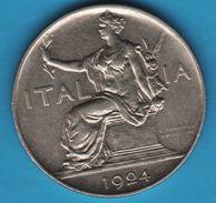 ITALIA 1 LIRE 1924 KM# 62 Victor-Emmanuel III - 1900-1946 : Victor Emmanuel III & Umberto II