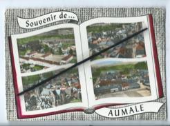CPM -  Aumale  (Seine Maritime ) - Le Groupe Scolaire - Rue Centrale - L'Eglise - Place De La Liberation  (livre ) - Aumale