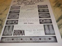 ANCIENNE PUBLICITE BIJOU MERVEILLE MARINA DE GRECE BURMA 1933 - Bijoux & Horlogerie