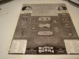 ANCIENNE PUBLICITE BIJOU BURMA MISTINGUETTE 1938 - Bijoux & Horlogerie