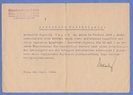 Ärztliche Bestätigung V.KH Lainz 1946 - Historische Dokumente