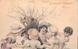 """-  ILLUSTRATEUR  """" Wichera """"    -  Joyeuses Pâques   - Carte Viennoise  - M.M. Vienne    -  Petites Filles     -  ¤¤ - Pâques"""