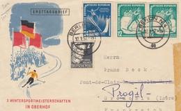 FRONT COVER. 12 1 1952. Mi 299-298 PAAR.  3. WINTERSPORTMEISTERSCHAFTEN IN OBERHOF. BERLIN TO GRENOBLE - Briefe U. Dokumente