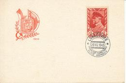 Czechoslovakia Card With President Masaryk 1 Koruna Luhacovice 29-7-1945 - Czechoslovakia