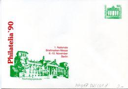 """DDR Privatganzs.-Umschlag  PU 017 D2/001-d Wz 50(Pf) """"PHILATELIA ´90 - Reichstagsgebäude"""", Ungebraucht - Private Covers - Mint"""