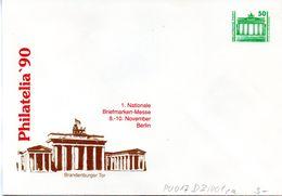 """DDR Privatganzs.-Umschlag  PU 017 D2/001ca Wz 50(Pf) """"PHILATELIA ´90 - Brandenburger Tor"""", Ungebraucht - [6] Oost-Duitsland"""