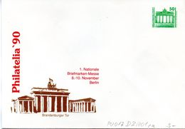 "DDR Privatganzs.-Umschlag  PU 017 D2/001ca Wz 50(Pf) ""PHILATELIA ´90 - Brandenburger Tor"", Ungebraucht - [6] Repubblica Democratica"