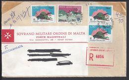 "ITALIE - 1972 ""Sovrano Militare Ordine Di Malta - Poste Magistrali"" Enveloppe Recommandée De Rome Pour Grenoble - B/TB. - 1946-.. Republiek"