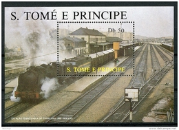 Sao Tome E Principe, 1987, Locomotives, Trains, Railroads, MNH, Michel Block 174 - Sao Tome En Principe