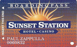 Sunset Station Casino - Las Vegas, NV - Slot Card - Copyright 1996 - Casino Cards