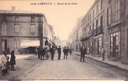 CPA Animée (81)  CARMAUX Route De La Gare Devanture CoiffeurH. IZARD - Carmaux