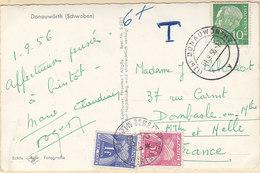 10pf Heuss Sur Carte De Donauwôrth,Schwaben,taxée 5 + 10f En France,de 1956 - [7] République Fédérale