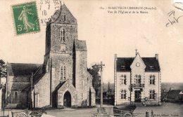 V11095 Cpa 50 St Sauveur Lendelin - Vue De L'Eglise Et De La Mairie - Unclassified