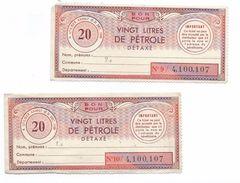 Libération/Tickets De Rationnement/2  Tickets/20 Litres De Pétrole Détaxé / Années 1950       OL101 - Documents
