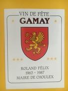4454 - Vin De Fête Gamay Roland Félix Maire De Choulex / Genève 1963-1987 - Etiquettes