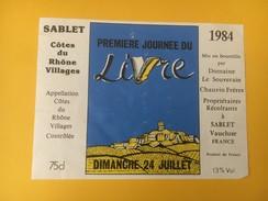 4457 - Première Journée Du Livre Sablet 1984 Côtes Du Rhône Village - Etiketten