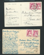 Roumanie  Lot De 2 Cpa Affranchies Pour La France En 1928 - Phi245 - Otros