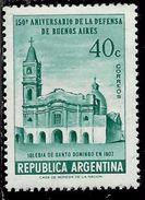 ARGENTINA 1957 DEFENSE OF BUENOS CHURCH OF SANTO DOMINGO AIRES CENT. 40c MNH - Nuovi