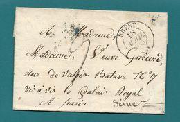 Finistère - Brest Pour Paris. CàD Type 13 + Taxe Tampon 9. LSC De 1833 - Marcofilie (Brieven)