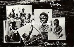 Dutch New Guinea, Armed Native Papua Warriors, Woman Nursing Young Child (1950s) - Papoea-Nieuw-Guinea