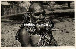 Dutch New Guinea, Papua With Hair Extensions Earrings Of Casuar Pens 1950s RPPC - Papoea-Nieuw-Guinea