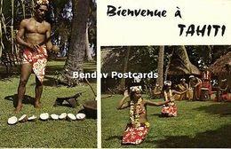 French Polynesia, Dancing Girls, Man Cutting Coconuts (1960s) - Tahiti