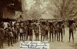 German New Guinea, Group Native Papuas With Feast Food (1910s) RPPC New Mission - Papua-Neuguinea