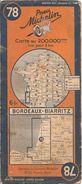 CARTE-ROUTIERE-MICHELIN-N °78-Révisée 1937--BORDEAUX-BIARRITZ- PAS De Coupure Aux Plis-B E - Cartes Routières