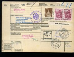 1975: Paketkarte Aus ZÜRICH Nach Deutschland, Frankiert Mit 2x3 Fr Matthaeus, 70 - Suisse