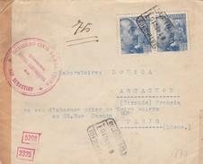 LETTRE ESPAGNE. 2 8 1940. CERTIFICADO SAN SEBASTIAN POUR PARIS. DIVERSES CENSURES. GUIPUZCOA SAN SEBASTIAN. ALLEMANDE - 1931-Aujourd'hui: II. République - ....Juan Carlos I
