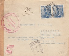 LETTRE ESPAGNE. 2 8 1940. CERTIFICADO SAN SEBASTIAN POUR PARIS. DIVERSES CENSURES. GUIPUZCOA SAN SEBASTIAN. ALLEMANDE - 1931-Oggi: 2. Rep. - ... Juan Carlos I