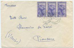 1950 LAVORO L. 20x3 BUSTA 30.12.50 TARIFFA ESPRESSO CON TIMBRO DI ARRIVO (8086) - 6. 1946-.. Repubblica