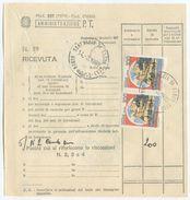 1986 MOD 267 BIFACCIALE CUSTODIA PACCHI  CON CASTELLI L. 100 COPPIA E  SIRACUSANA  3000 COPPIA OTTIMA QUALITÀ (8092) - 1981-90: Storia Postale