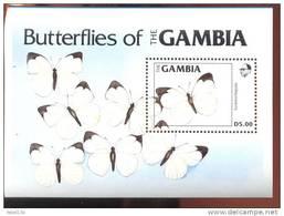 MINT NEVER HINGED SOUVENIR SHEET OF BUTTERFLIES   (  GAMBIA  537 - Papillons
