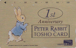 Carte Prépayée Dorée Japon - COMICS - PIERRE LAPIN - PETER RABBIT Japan Gold Prepaid Tosho Card - KANINCHEN - 70 - BD