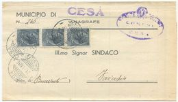 1956 SIRACUSANA L. 5 STRISCIA DI 3 PIEGO DA CESA (CE) 21.1.56 TIMBRO ARRIVO E OTTIMA QUALITÀ (8127) - 1946-60: Storia Postale