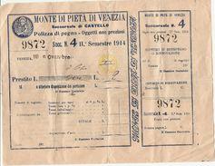 2-MONTE DI PIETA DI VENEZIA-SUCCURSALE CASTELLO-POLIZZA DI PEGNO 1914 - Azioni & Titoli