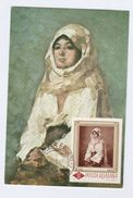 1966 ROMANIA FDC Maximum Card ART GRIGORESCOU Peasant Woman With Veil Stamps Cover - Maximum Cards & Covers