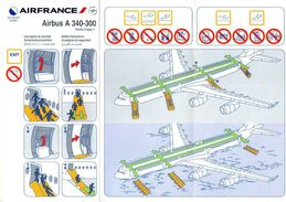 CONSIGNES DE SECURITE / SAFETY CARD  *Airbus A 340-300   AIR FRANCE - Safety Cards