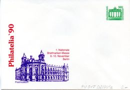 "DDR Privatganzs.-Umschlag  PU 017 D2/001-a Wz 50(Pf) ""PHILATELIA ´90 - Postmuseum"", Ungebraucht - Private Covers - Mint"