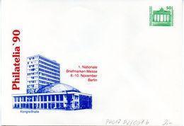 """DDR Privatganzs.-Umschlag  PU 017 D2/001-b Wz 50(Pf) """"PHILATELIA ´90 - Kongreßhalle"""", Ungebraucht - [6] Repubblica Democratica"""
