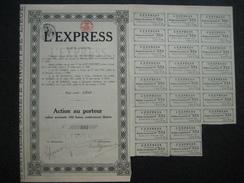 LIEGE 1924 - L'EXPRESS - Publication D'un Journal Dans La Province De Liège - Action Au Porteur De 100 Francs - Actions & Titres