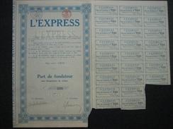 LIEGE 1924 - L'EXPRESS - Publication D'un Journal Dans La Province De Liège - Part De Fondateur - Actions & Titres
