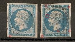 2 N° 14B, 20C EMPIRE Type II  A PLANCHER. - 1853-1860 Napoleon III