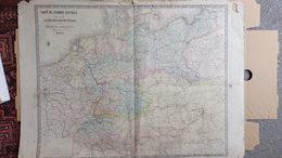 CARTE EUROPE CENTRALE POUR SUIVRE OPERATIONS MILTAIRES-GUERRE 1870-LUXEMBOURG-ALLEMAGNE-BOHEME-MONROCQ  PARIS - Cartes