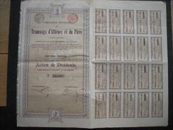 Lot De 6 Actions De 1907 BRUXELLES - TRAMWAYS D'ATHENES ET DU PIREE - Action De Dividende - Railway & Tramway