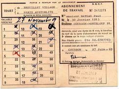 CARTE  S.N.C.F -  ABONNEMENT  DE  TRAVAIL - Trajet De Breuillet Village à Paris Austerlitz -  SNCF - Sud Ouest. - Wochen- U. Monatsausweise