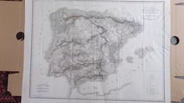 RARE CARTE PHYSIQUE ESPAGNE ET PORTUGAL PAR COLONEL BORY DE SAINT VINCENT 1827- ILES BALEARES-LISBONNE-MADRID- - Cartes Géographiques